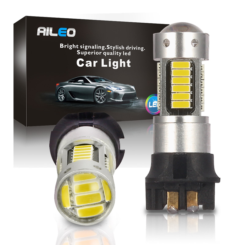 Светодиодные лампочки AILEO Amber White PW24W PWY24W CANBUS 30 SMD для Audi, BMW, VW, Volvo, Mercedes-Benz, Skoda, Peugeot MINI, дневные ходовые огни
