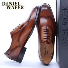 Men Oxford Shoes Wedding Office Genuine-Leather Wing-Tip Brogue Brown Classic-Style Black
