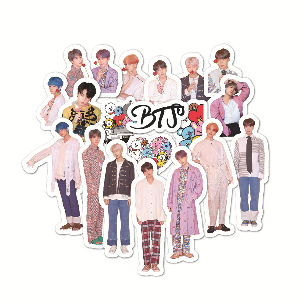 50PCS Korean Kpop Bangtan Boys Stickers For Laptop Skateboard Home Decoration Car Scooter Decal Sticker Toy For Children