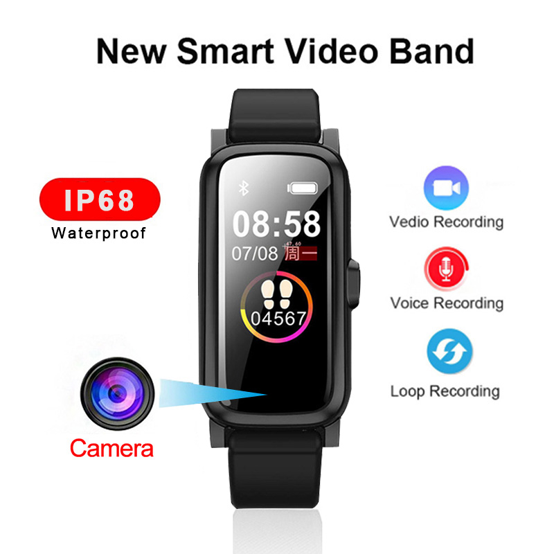 1080P HD Video Camera Recorder Swimming IP68 Smart band Cam Watch Sound Voice Recording Sports Heart Rate Monitor
