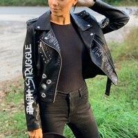 Ailegogo 2021 New Autumn Women Faux Soft Leather Jackets Coats Lady Black PU Rivet Zipper Epaulet 3D print Motorcycle Streetwear 1