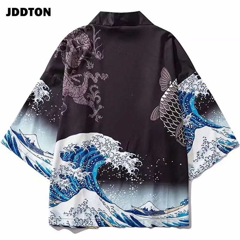 JDDTON Kimono Fashion Unisex Cardigan Jackets Traditional Japanese Yukata Thin Outerwear Haori Coats Loose Casual Overcoat JE019