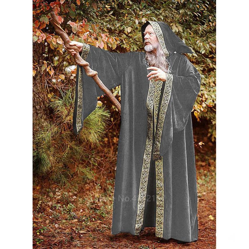กลางอายุ COSPLAY เครื่องแต่งกายสำหรับผู้ใหญ่ชายฮาโลวีน Carnival Monk VINTAGE ยุคกลางเวทีเสื้อคลุมยาว