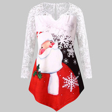 цены Women Plus Size christmas Lace shirt Claus Print Lace Tunic Tee Shirt Long Sleeve Top Plus Size Printed camisas de mujer