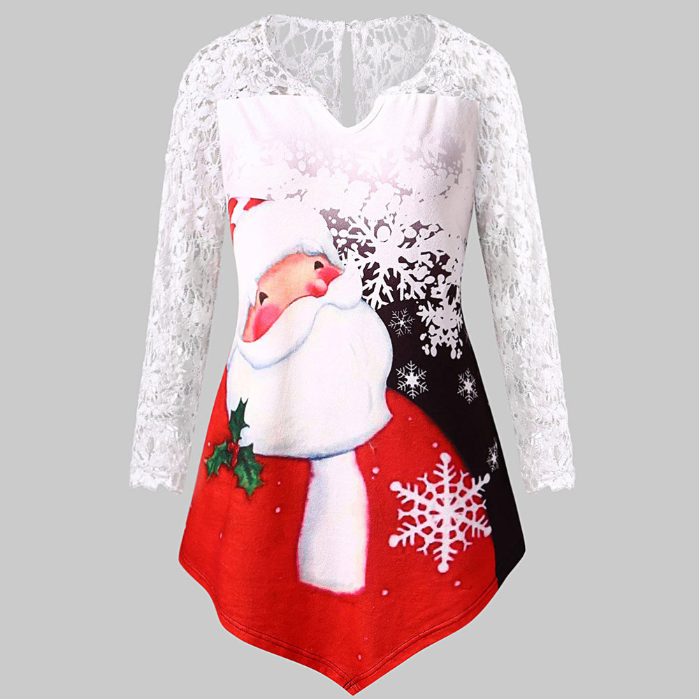 Women Plus Size Christmas Lace Shirt Claus Print Lace Tunic Tee Shirt Long Sleeve Top Printed Christmas Clothes Camisas De Mujer