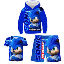 Children Clothes Set Sonic Clothing For Boys Girls Sweatshirt 3 Pieces Sult Hoodie+T-shirt+Pants Kids Costume 4-14Y
