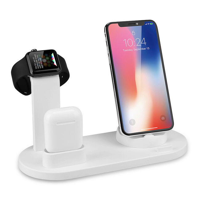 CDEN Mobile Phone Charger Stand Watch Charger 3 in 1Type for 11 Pro XS Max XR Airpods Pro Apple Watch Docking Station 1