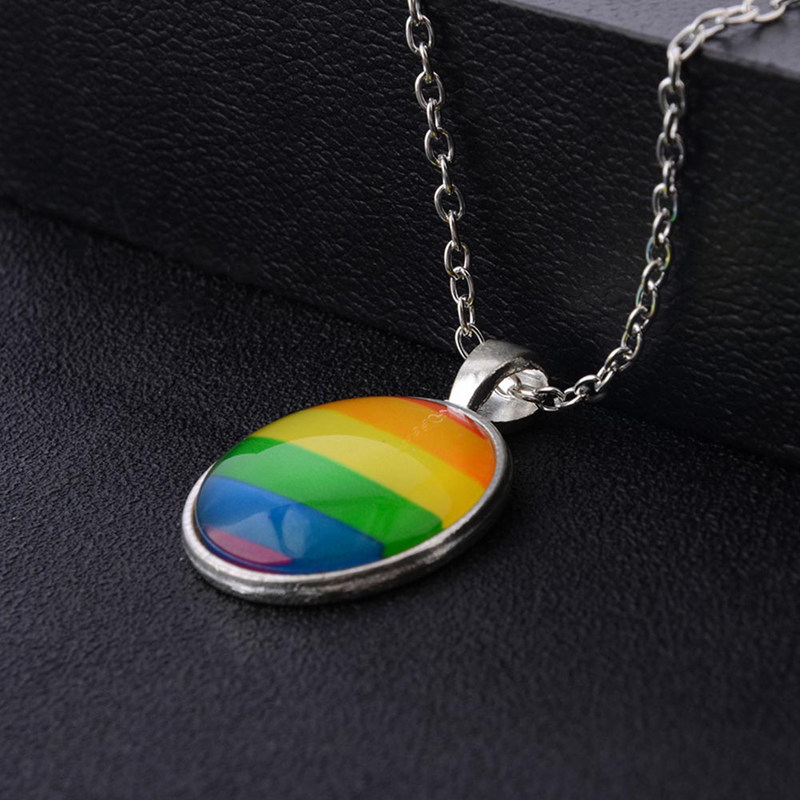 2019 New Fashion Glass Colorful Rainbow Flower Buttons Flag Crystal Pendant Necklace For <font><b>Bisexual</b></font> Gay Pride <font><b>Jewelry</b></font> Gift image