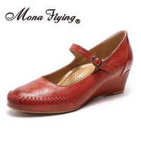 Mona Flying Women's Genuine Leather Mary Jane Wedge Pumps Round Toe High Heel Dress Shoes for Women Ladies 078 G1
