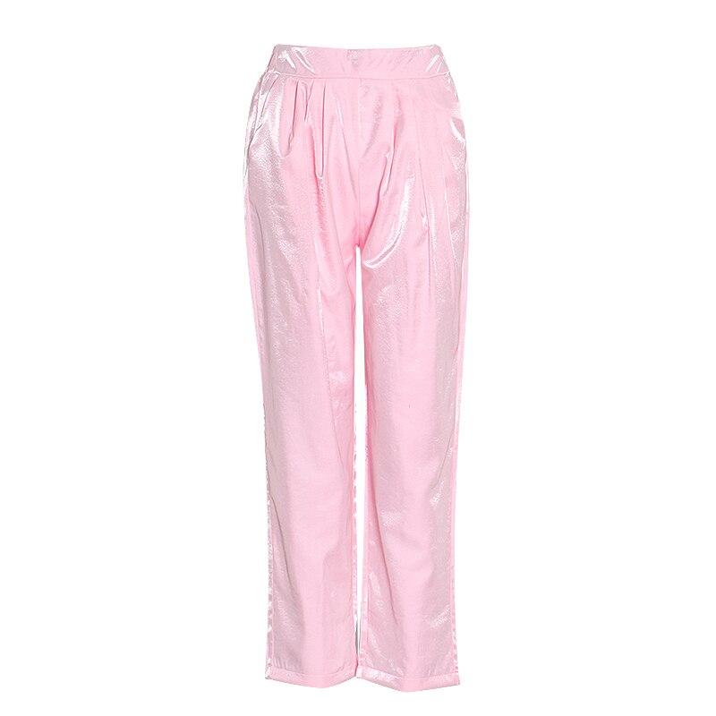 TWOTWINSTYLE Casual Rosa conjunto de dos piezas mujer O cuello camisa de manga farol cintura alta pantalones acanalados túnica traje femenino 2020 ropa nueva - 3