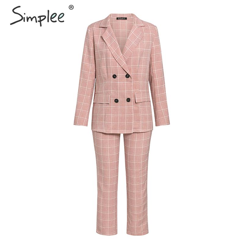 Hc4df812b630d422996d9e2b20be41573o - Simplee Fashion plaid women blazer suits Long sleeve double breasted blazer pants set Pink office ladies two-piece blazer sets