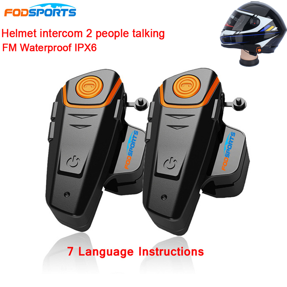 BT-S2 Pro Motorcycle Wireless Bluetooth Intercom Headsets 1000m Motorbike Headsets BT Interphone with FM Waterproof IPX6