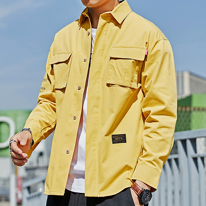 2020 Spring Newest Men's Cotton Shirt Vintage Safari Style Multi-pocket Shirt Long Sleeve Shirt