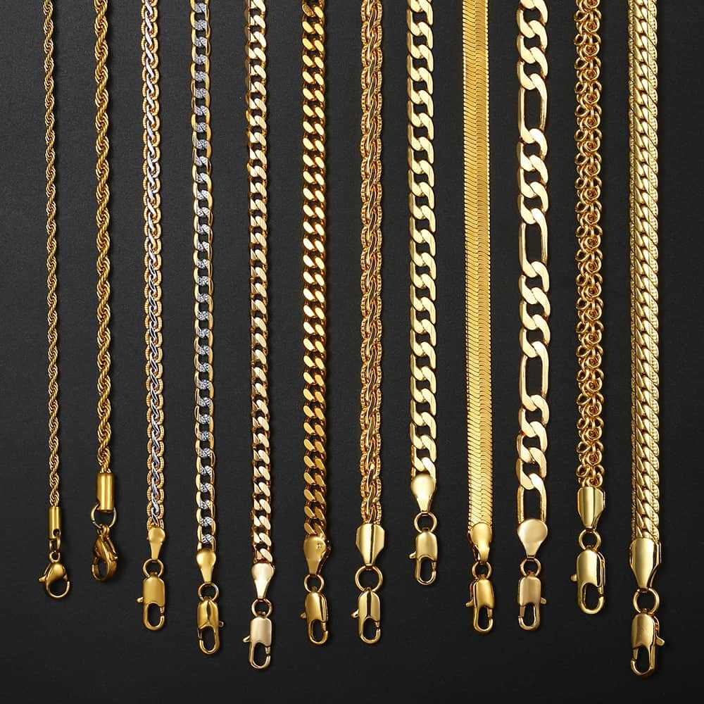 Mens Womens Necklace Chain Gold Filled Figaro Hammered Snake Curb Gold Necklaces For Women Men Fashion Jewelry 2 3 4 5 6mm Lgnn2 Aliexpress