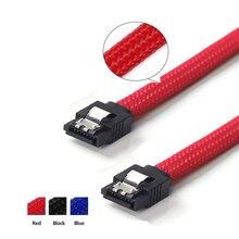 3 pces 50cm sata3 7pin cabos de dados 6 gb/s ssd cabo hdd disco rígido unidade cabo de cabo linha com náilon trança cor vermelha branca premium mangas compridas