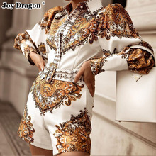 Autumn Printing Female Overalls Elegant Woman One Piece Lapel Club Outfits Short Party Long Sleeve Fashion Romper High Waist