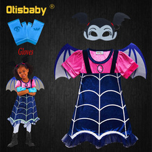 Girls Vampirina Cosplay Costumes for Halloween Children A-Line Dress with Wings Summer Fairy Holiday Dresses For Clothing