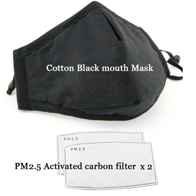 Cotton PM2.5 Black Mouth Mask Anti Dust Mask Activated Carbon Filter Windproof Mouth-muffle Bacteria Proof Flu Safety Face Masks