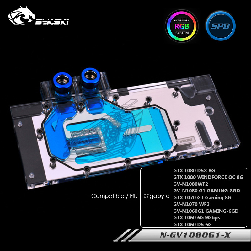 Bykski <font><b>water</b></font> block used for fit Gigabyte GTX <font><b>1080</b></font>/1070/1060 G1 Gaming ,Full Cover ,Copper Cooled ,GPU Cooler ,N-GV1080G1-X image