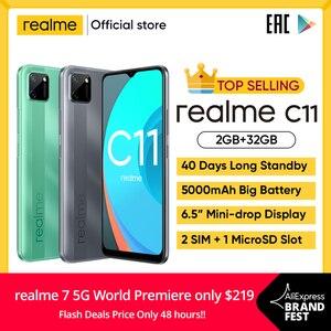 Realme C11 мобильных телефонов 6,5 дюймов 5000 мА/ч, большая Батарея 40 дней в режиме ожидания 3-карты Android смартфон 13MP крепление для спортивной камеры...