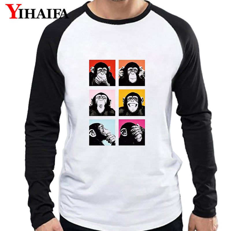 Men Long Sleeve T Shirts Funny Colorful Monkey Baseball Print Tees White Tee Tops Black Sleeves Hip Hop Pullover T-shirt