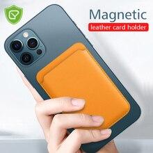 محفظة جلدية فاخرة مع دعم بطاقة ، جيب لهاتف iPhone 12 Pro Max ، حامل بطاقة مغناطيسي