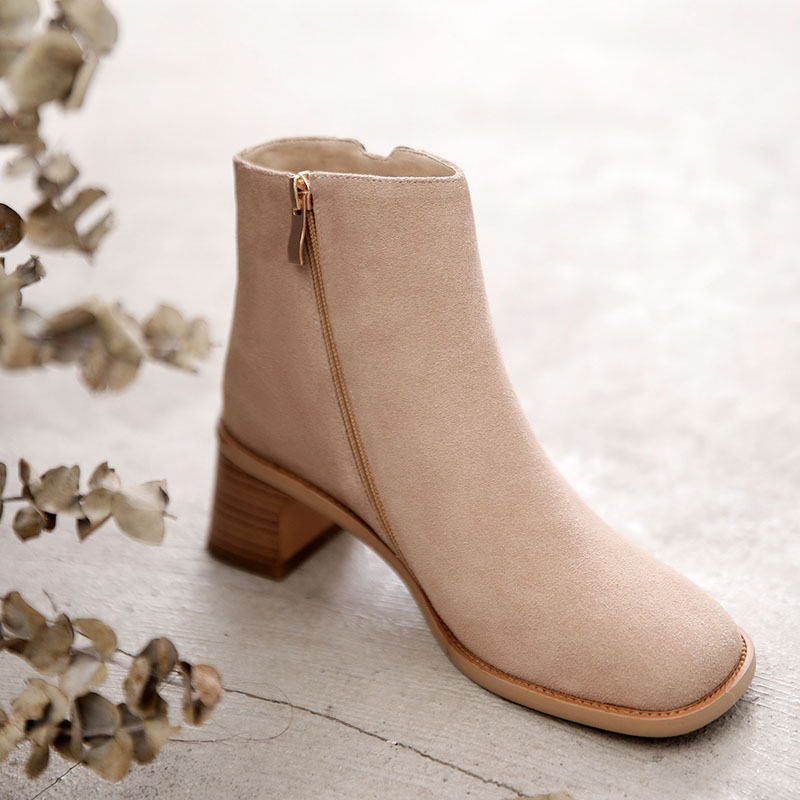 Cow Suede Women Ankle Boots Square Toe High Heels Women Winter Shoes Patchwork Zipper Fashion Women Western Short Boots Ladies