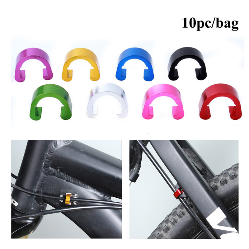 10 Pcs Guide Conversion Frame Fixed Clamp Bike Bicycle Tubing Seat Aluminum Clip Brake Cable Oil Tube U Shape Buckle
