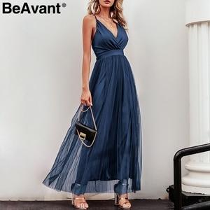 Image 5 - BeAvant אלגנטי ורוד קיץ תחרה שמלת נשים ערב סקסי מועדון מסיבת שמלות גבירותיי V צוואר גבוה מותן mesh שמלת חלוק femme 2020