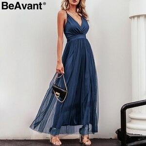 Image 5 - Beavant vestido de renda para festa, vestido de verão elegante rosa sexy para noite vestidos de festa decote em v cintura alta robe de malha femme 2020,