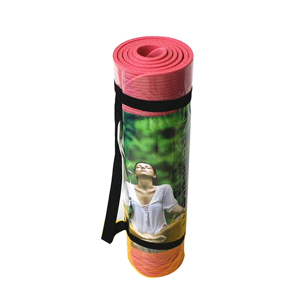 Yoga Mat 8Mm Non-Slip Padded Sports Fitness Mat Gymnastic Protection Pad High Density Gift Wide Strap