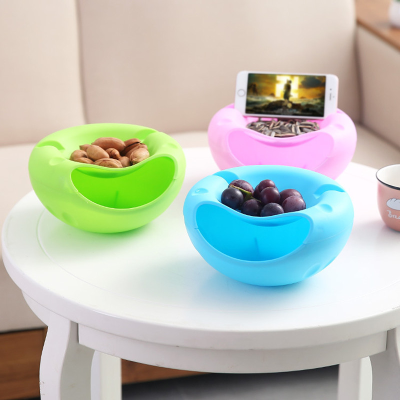 Bowl Double Layer Dry Fruit Containers Snacks Seeds Storage Box Garbage Holder Plate Dish Organizer With Phone Holder LW0227246