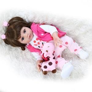 Image 2 - NPK 48CM popular full body soft silicone bebe doll reborn baby girl in the giraffe dress set Christmas Gift neborn baby