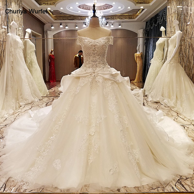 Ls55479 Wedding Dresses Turkey Lace Up Back Short Sleeve Ball Gown