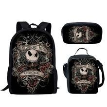 3pc/Set Kids Backpack School-Bags Skull Nightmare Gothic Girls Student Child for Boys