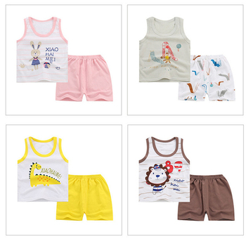 цены Summer Baby Boys Girls clothes Cartoon Vest Top Shorts Pants Set Clothes Kids Cute Cartoon Children Pajamas Girls Clothing Sets