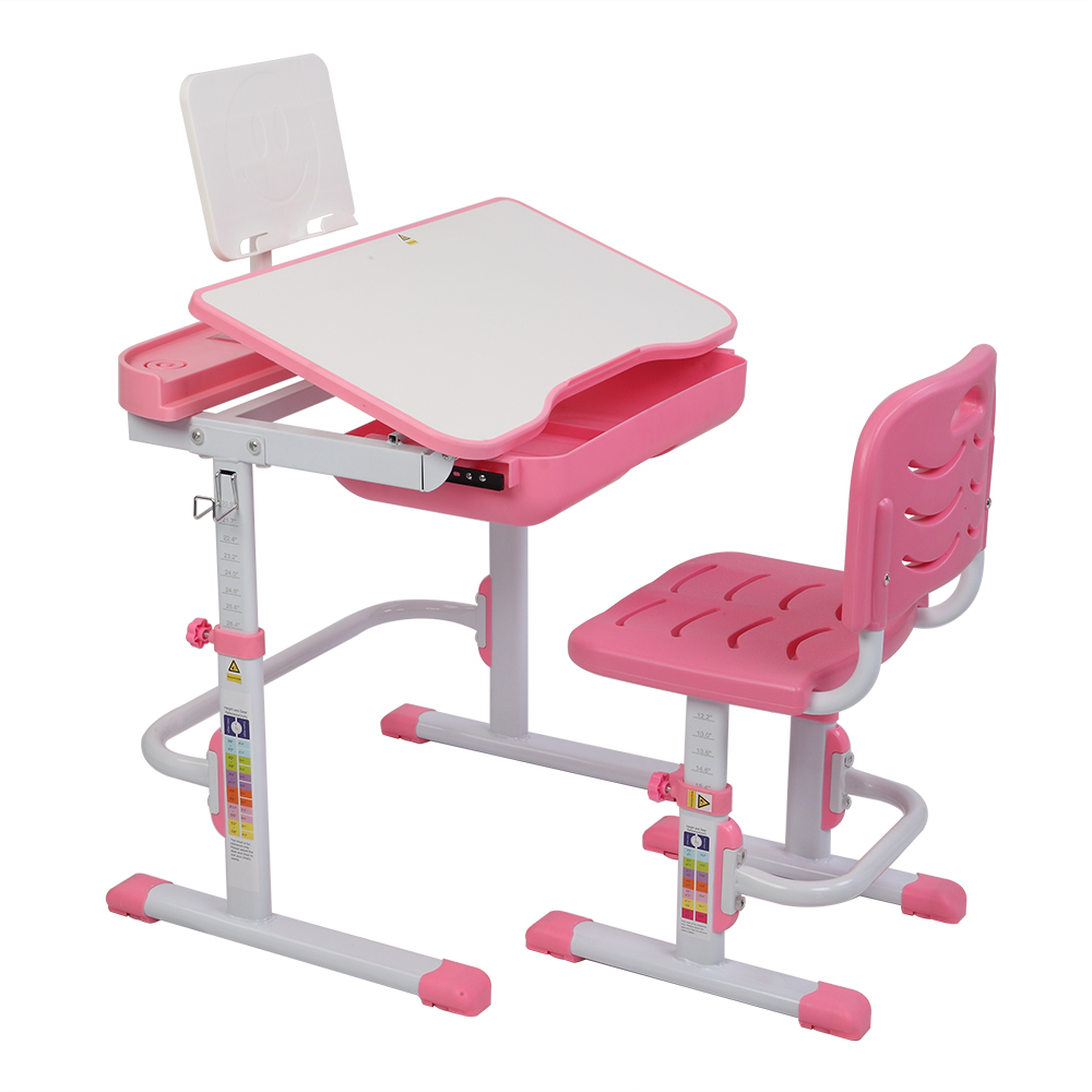 70CM Lifting Table Can Tilt Children Learning Table And Chair Pink (With Reading Stand Without Table Lamp