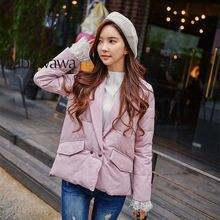 Модное свободное зимнее женское пальто dabuwawa с отложным воротником