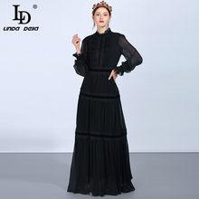 LD LINDA DELLA Fashion Runway Maxi abiti da donna manica lunga in pizzo Patchwork increspature abito nero Vintage elegante abito da festa
