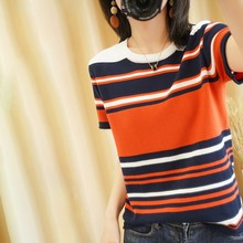 2021 summer new pure cotton T-shirt women casual pullover knitted sweater short sleeve plus size round neck tees striped top