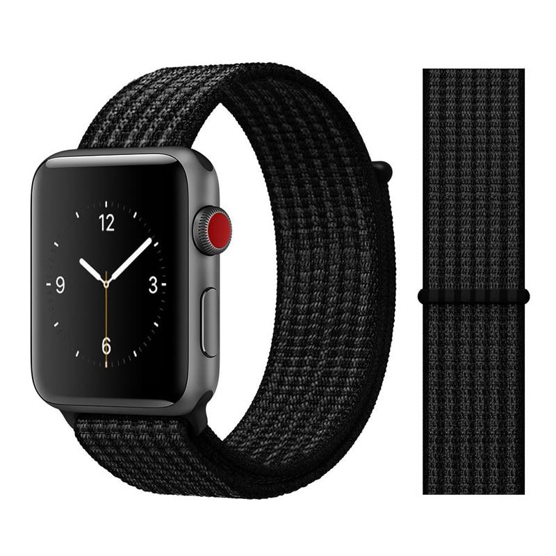 Для наручных часов Apple Watch, версии 3/2/1 38 мм 42 мм нейлон мягкий дышащий нейлон для наручных часов iWatch, сменный ремешок спортивный бесшовный series4/5 40 мм 44 мм - Цвет ремешка: Color46 Black 2