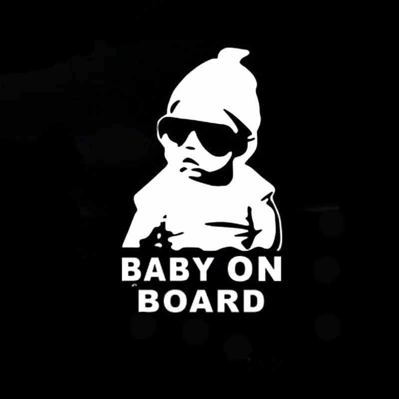 """14 × 9 センチメートル """"Baby on Board"""" 安全看板車のステッカー反射サングラス子車のステッカー警告黒/白"""