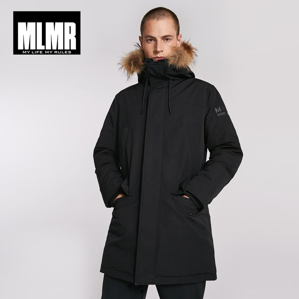 MLMR Men's Winter Fur Collar Hooded Long Down Jacket Hoodie Outerwear Parka Coat JackJones Menswear Brand 218312517-in Down Jackets from Men's Clothing    1