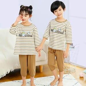 Children's Pajamas T-Shirt Short-Sleeves Girls Baby Cartoon Pants Kids Sleepwear Boys