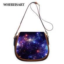 WHEREISART с космическим принтом; Женская сумка-тоут Сумки из натуральной кожи, новинка, сумка на плечо, для девушек, сумка в кожа, на застежке, сед...