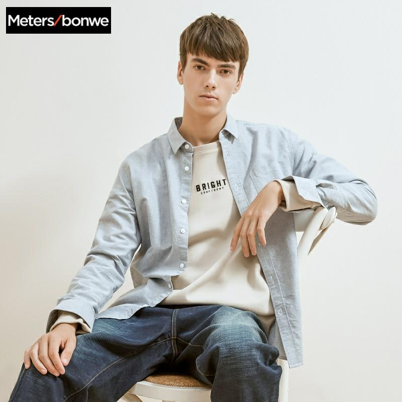 Metersbonwe Brand Men Smart Casual Shirts 2020 Spring Autumn Male Slim Long Sleeve shirts regular Cotton Male Basic tops