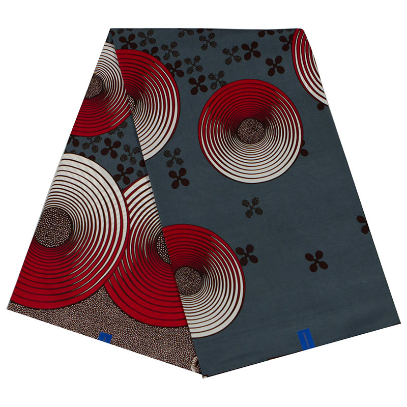 100% Cotton 2019 New Arrivals African Fashion Red & Gray Print Fabric Veritable Ankara Guarantee Real Wax Java