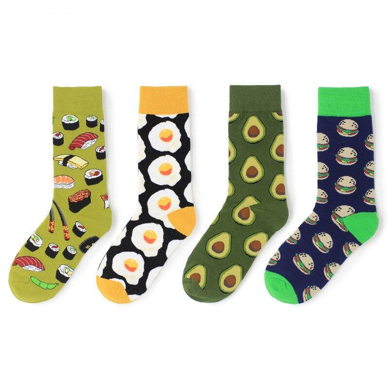 Avocado Omelette Burger Sushi Apple Plant Fruit Food Socks Short Funny Cotton Socks Women Winter Men Unisex Happy Socks Female