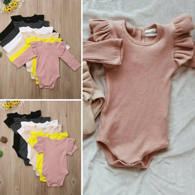 Organic Cotton Baby Girl Clothes Summer New Double Gauze Kids Ruffle   Romper   Jumpsuit Headband Dusty Pink Playsuit For Newbor0-2T
