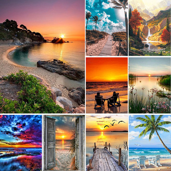 5D DIY Diamond Painting Landscape Sunset Sea Kit Full Drill Square Embroidery Mosaic Art Picture of Rhinestones Home Decor Gift 1